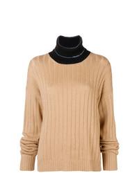 Jersey de cuello alto de punto marrón claro de Prada