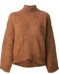Jersey de cuello alto de punto marrón de 3.1 Phillip Lim