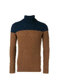 Jersey de cuello alto de punto marrón de Eleventy