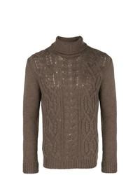 Jersey de cuello alto de punto marrón de Tagliatore