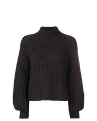 Jersey de cuello alto de punto morado oscuro de Ulla Johnson
