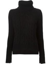 Jersey de cuello alto de punto negro de Alexander McQueen