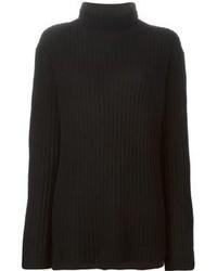 Jersey de cuello alto de punto negro de Ann Demeulemeester