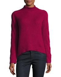 Jersey de cuello alto de punto rosa