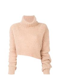 Jersey de cuello alto de punto rosado de Ann Demeulemeester