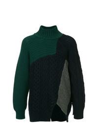 Jersey de cuello alto de punto verde oscuro