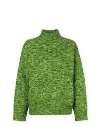 Jersey de cuello alto de punto verde de Victoria Victoria Beckham