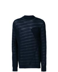 Jersey de cuello alto de rayas horizontales azul marino de Sacai