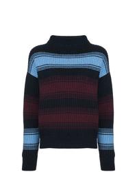 Jersey de cuello alto de rayas horizontales azul marino de Wood Wood