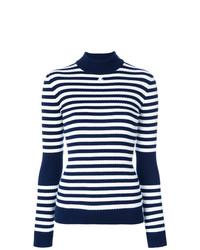 Jersey de cuello alto de rayas horizontales en azul marino y blanco de Courreges