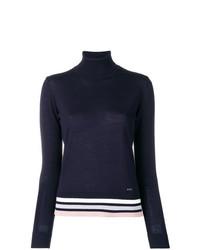 Jersey de cuello alto de rayas horizontales en azul marino y blanco de Emporio Armani