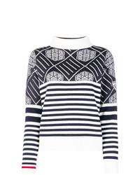 Jersey de cuello alto de rayas horizontales en azul marino y blanco de Rossignol