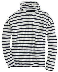 Jersey de cuello alto de rayas horizontales en blanco y azul marino