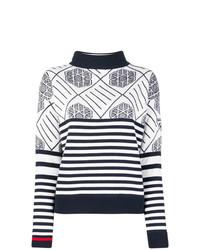 Jersey de cuello alto de rayas horizontales en blanco y azul marino de Rossignol