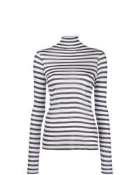 Jersey de cuello alto de rayas horizontales en blanco y azul marino de Semicouture