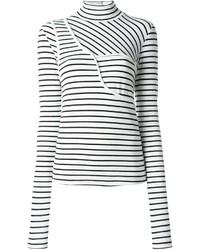 Jersey de cuello alto de rayas horizontales en blanco y negro de MM6 MAISON MARGIELA