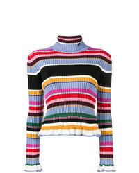 Jersey de cuello alto de rayas horizontales en multicolor de MSGM