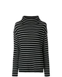 Jersey de cuello alto de rayas horizontales en negro y blanco de The Gigi