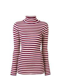 Jersey de cuello alto de rayas horizontales en rojo y blanco de Forte Forte