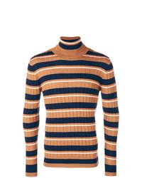 Jersey de cuello alto de rayas horizontales marrón claro de Barena