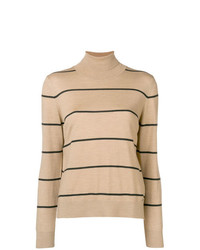 Jersey de cuello alto de rayas horizontales marrón claro de Fay