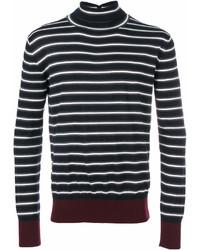 Jersey de cuello alto de rayas horizontales negro