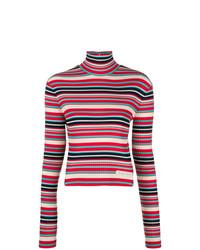Jersey de cuello alto de rayas horizontales rojo de Prada