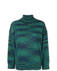 Jersey de cuello alto de rayas horizontales verde oscuro de M Missoni