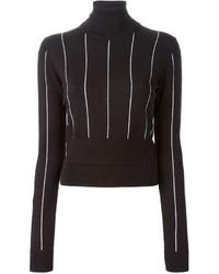 Jersey de cuello alto de rayas verticales negro de MICHAEL Michael Kors
