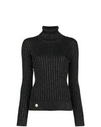 Jersey de cuello alto de rayas verticales negro de Philipp Plein