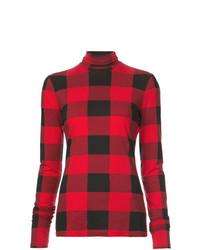 Jersey de cuello alto de tartán rojo de Proenza Schouler