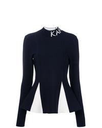 Jersey de cuello alto en azul marino y blanco de Karl Lagerfeld