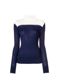 Jersey de cuello alto en azul marino y blanco de Sport Max Code