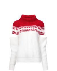 Jersey de cuello alto en blanco y rojo