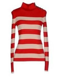 Jersey de cuello alto en rojo y blanco