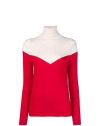 Jersey de cuello alto en rojo y blanco de Cashmere In Love