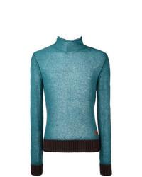 Jersey de cuello alto en turquesa
