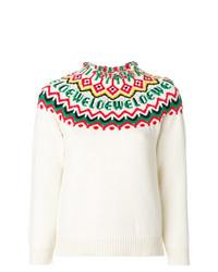 Jersey de cuello alto estampado blanco de Loewe