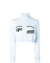 Jersey de cuello alto estampado celeste de Chiara Ferragni