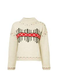Jersey de cuello alto estampado en beige de Isabel Marant