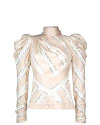 Jersey de cuello alto estampado en beige de Zimmermann