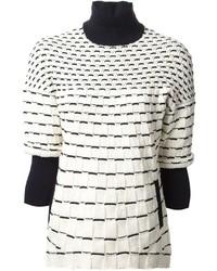 Jersey de cuello alto estampado en blanco y negro de 3.1 Phillip Lim