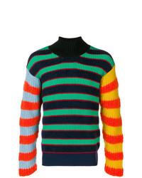 Jersey de cuello alto estampado en multicolor