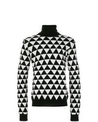 Jersey de cuello alto estampado en negro y blanco