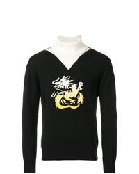 Jersey de cuello alto estampado en negro y blanco de Kenzo