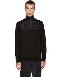 Jersey de cuello alto estampado negro