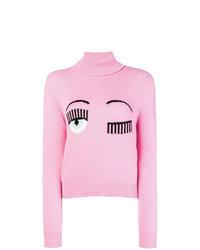 Jersey de cuello alto estampado rosado de Chiara Ferragni