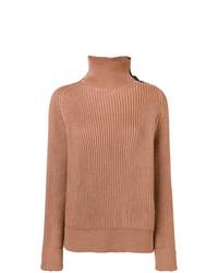 Jersey de cuello alto marrón claro de Bottega Veneta