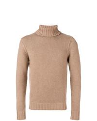 Jersey de cuello alto marrón claro de Drumohr