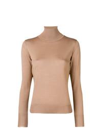 Jersey de cuello alto marrón claro de Roberto Collina